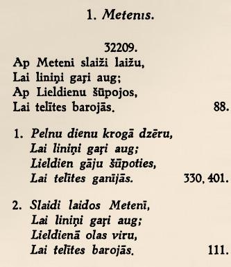 Metenis tautas dziesma teksts no grāmatas skenēts