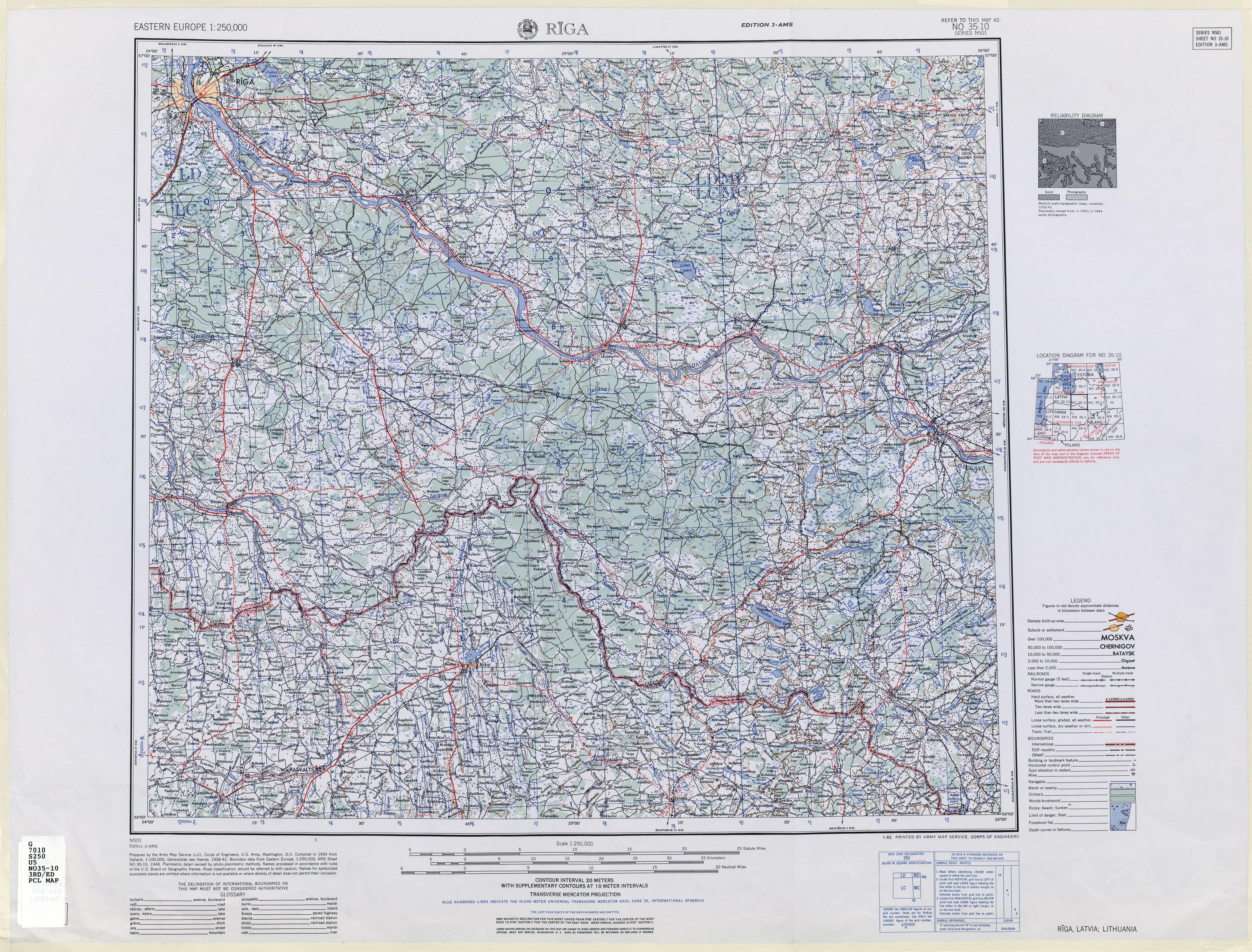 Rīga un apkārtne ASV armijas topogrāfiskā karte