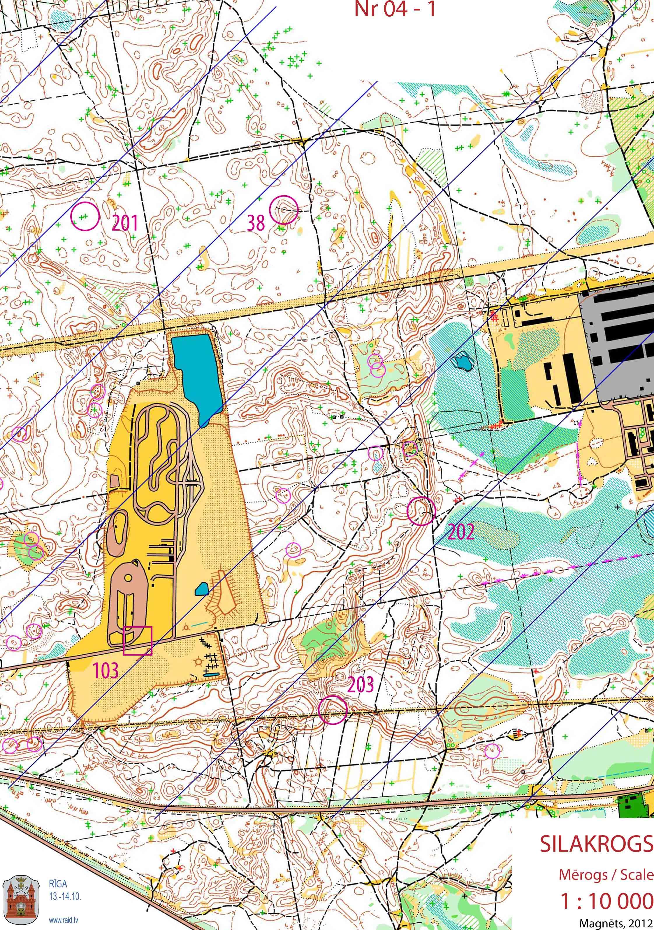 Orientēšanās karte Silakrogs 333 trase mērogs 1:10000