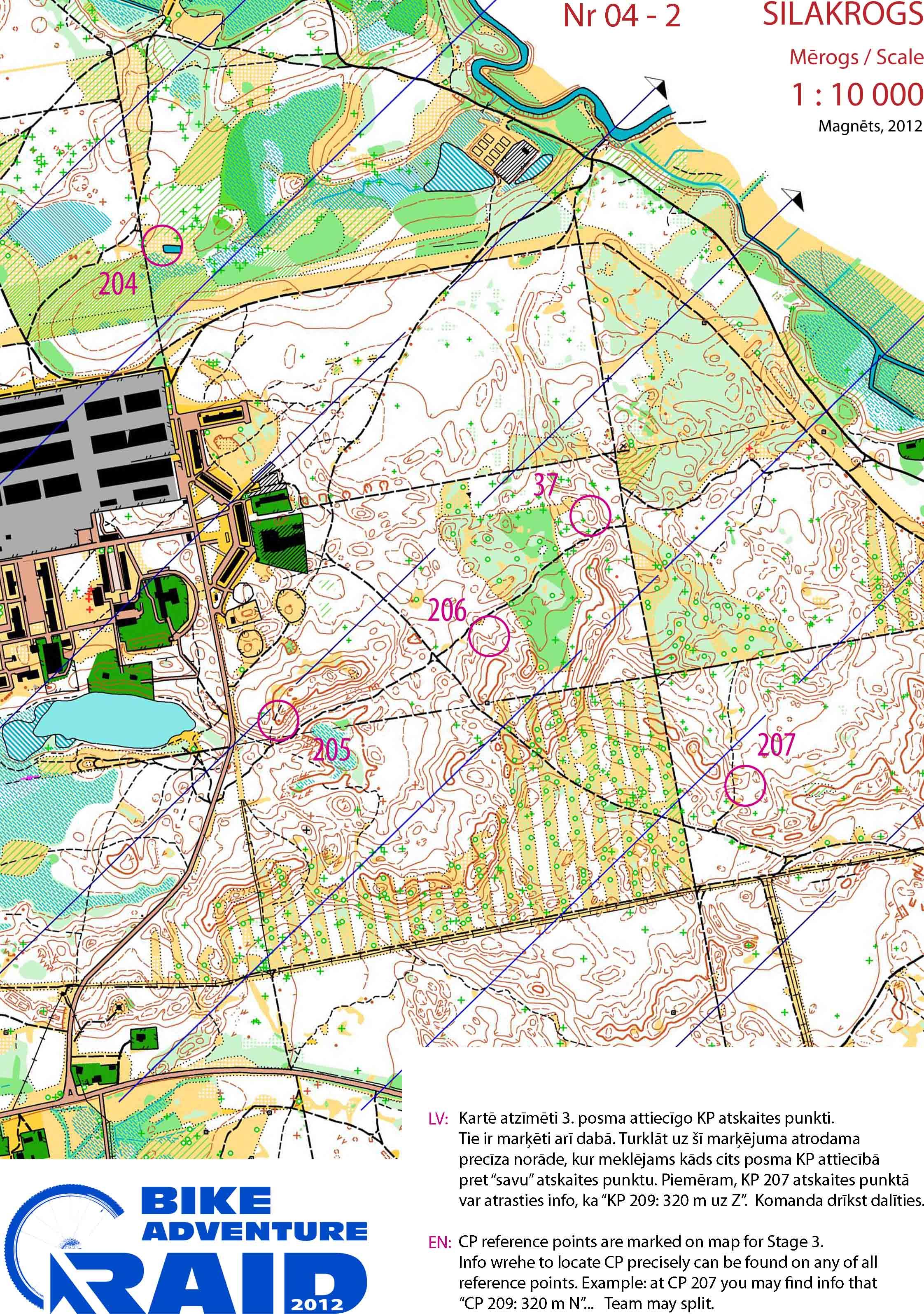 Orientēšanās karte Silakrogs Lielā Jugla mērogs 1:10000